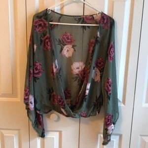 Sheer Bell Sleeve Top